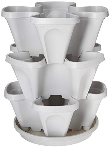 3 Tier Stackable Garden - Indoor / Outdoor Vertical Planter Set - Self Watering Tiers From Top Down - Grow Fresh Herbs In The Kitchen or Patio - Smart Planting Pots - Used for Strawberries Herbs Peppers Flowers and Succulents (Stone)