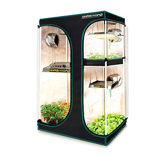 MARS HYDRO 2-in-1 Grow Tent 1680D Canvas Reflective Mylar Grow Tents with Removable Floor Tray for Indoor Hydroponic Growing Room 36''x24''x55''