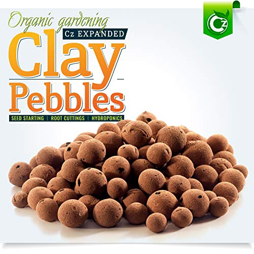Organic Expanded Clay Pebbles Grow Media for Orchids, Hydroponics, Aquaponics, Aquaculture Garden (2 LB Cz Expanded Clay Pellets)