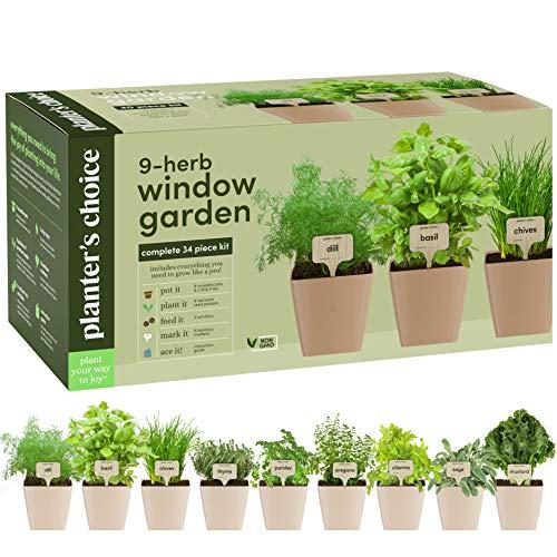 9 Herb Window Garden - Indoor Herb Growing Kit - Kitchen Windowsill Starter Kit - Easily Grow 9 Herbs Plants from Seeds with Comprehensive Guide - Unique Gardening Gifts for Women & Men