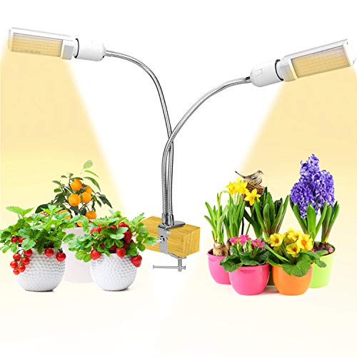 Abbicen Grow Light Clip on Indoor Plant Grow Light with Flexible 360 Degree Gooseneck, Full Spectrum, Timer Setting, Dimmable Brightness for Plants Hydroponics Greenhouse Germination