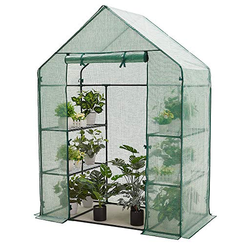 AMERLIFE Mini Walk-in Greenhouse 3 Tier 4 Shelves with PE Cover and Roll-Up Zipper Door,for Indoor Outdoor Use Extra Net Rack Buckles, 77''x56''x29''