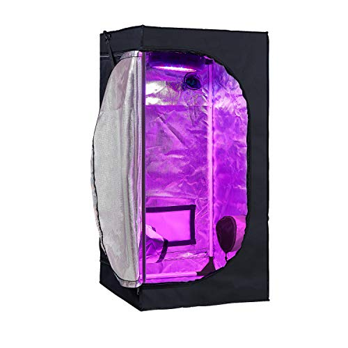 "GreenHouser 24""X24""X48"" High Reflective Grow Tent Indoor Grow Room for Planting Fruit Flower Veg with Removable Water-Proof Floor Tray"