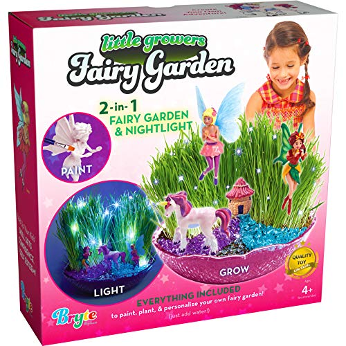 Little Growers Fairy Garden Craft Kit with Enchanted Unicorn and Light-Up Fairy Lights - Paint, Plant and Grow Your Very Own Fairy Garden Arts and Crafts Kit - for Kids All Ages Both Girls and Boys
