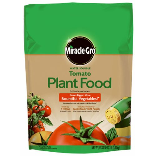 Miracle-Gro 1000441 Water Soluble Tomato, 3-Pound Plant Food, 3 lb, Green
