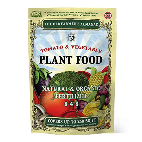 The Old Farmer's Almanac 2.25 lb. Organic Tomato & Vegetable Plant Food Fertilizer, Covers 250 sq. ft. (1 Bag)